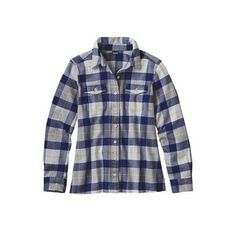 Women's Patagonia L/S Fjord Flannel Shirt ($89) ❤ liked on Polyvore featuring tops, long sleeve shirts, long-sleeve shirt, short-sleeve button-down shirts, blue button down shirt, blue flannel shirt and plaid shirts