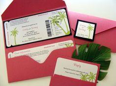 Boarding pass invitations for a destination wedding (invitation designed by Par Avion Design)