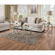 Outfit your living space in style with the contemporary United Furniture Simmons Casegoods Chrome and Glass Occasional Tables - Set of 3 . Living Room Sets, Living Room Furniture, Living Spaces, 3 Piece Coffee Table Set, Tempered Glass Table Top, Coffee Table Dimensions, Best Sofa, Cushions On Sofa, Upholstery