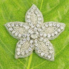 Amazon.com: Yontree Clear Crystal Flower Rhinestone Applique Sew On Wedding Bridal Dress DIY Sewing Craft 1 Pc