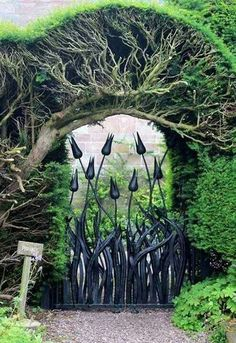 "Hutton-in-the-Forest Garden Gate So beautiful! It's like the ""Secret Garden"" reinvented! Magic Garden, Forest Garden, Dream Garden, Lily Garden, Gazebos, Fence Gate, Fences, Iron Gates, My Secret Garden"