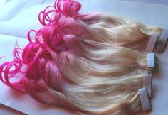 Hot Pink and Blonde Ombre Fade Dip Dye Clip in from damnationhair.com