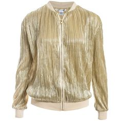 Sans Souci Gold pleated shimmer bomber ($59) ❤ liked on Polyvore featuring outerwear, jackets, gold, zip jacket, zip bomber jacket, brown jacket, zipper jacket and pleated jacket