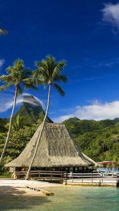 Tahiti, French Polynesia....and Bora Bora !!! The bungalos over the clear, turquoise water..  TAHITI