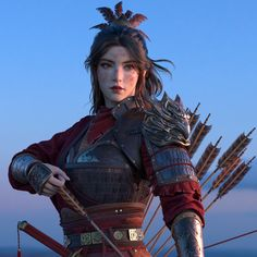 f Ranger Medium Armor Longbow portrait female farmland Hills med Fantasy Character Design, Character Design Inspiration, Character Art, Dnd Characters, Fantasy Characters, Female Characters, Akali League Of Legends, Art Couple, Female Samurai
