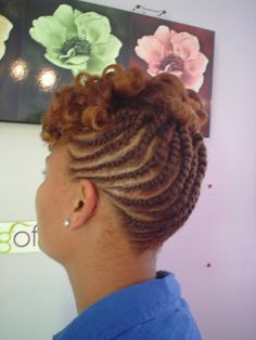 Natural Short Hairstyles For Black Women   Natural hair flat twist updo