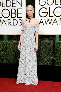 2017 Golden Globes:Oh boy. We should say we saw it coming, but to our actual surprise, Michelle Williams was the one to bring a choker to the red carpet tonight. Partnered with a strapless Louis Vuitton lace gown, we think she did 2016's hottest trend some serious justice.