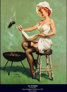 "Gil Elvgren ""A Lot of Steak"" Vintage Pin Up Girl Illustration Pinup Art, Gil Elvgren, Estilo Pin Up, Pin Up Illustration, Illustrations, Pin Up Girl Vintage, Vintage Pins, Zombie Pin Up, Sexy Pin Up Girls"