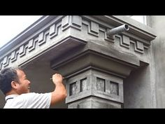 Amazing Techniques Rendering Sand and Cement to Concrete Columns - Building Houses Step By Step House Arch Design, House Front Wall Design, Single Floor House Design, Exterior Wall Design, House Outside Design, Village House Design, Column Design, Home Building Design, Bungalow House Design
