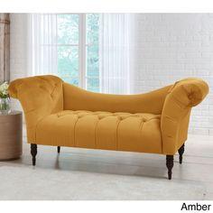 Skyline Furniture Mystere Velvet Fabric Chesterfield Loveseat