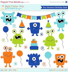 50% OFF SALE monster aliens clipart clip art birthday party - Boy Monsters Birthday Bash Clipart