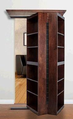 Maple Bifolding Bookcase Hidden Door - the murphy Door Hidden Spaces, Hidden Rooms, Bookcase Door, Bookshelves, Bookshelf Storage, Secret Door Bookshelf, Build A Bookshelf, Bookshelf Closet, Bookshelf Ideas