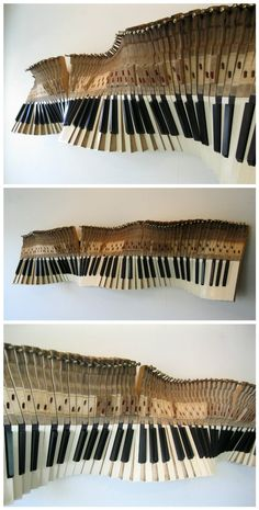 Check out this wall sculpture made from old piano keys!