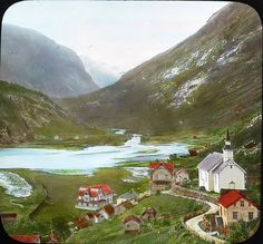 The town of Hellesylt in fjord Norway Hotel Union, Norwegian People, Norway Fjords, Beautiful Norway, Modern Church, Visit Norway, Grand Hotel, Color Photography, Vintage Images