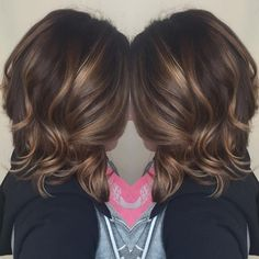 #brunette #balayage #caramel #highlights #lob #curls #hair #style #color #curls…