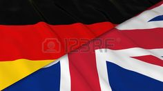 Drapeaux de l Allemagne et le Royaume Uni de Split Drapeau allemand et britannique drapeau 3D Illust Banque d'images