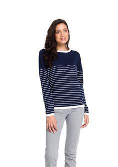 Fair trade Pullover Frauen Strick navy weiß Streifen Bio Baumwolle vegan organic cotton fashion Hamburg knit wear Crew Neck women blue white