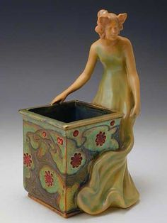 Ceramic Art Nouveau vase with figural maiden and Hungarian floral decoration ~ Hungarian ~ by Zsolnay ~ 1900