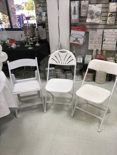 White chair options - patio/garden, fan-back, and standard