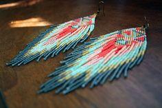 Native American style bead earrings feather by handmadewarrior