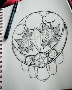 Wiccan Mandala by KK-Ska on DeviantArt Heidnisches Tattoo, Wicca Tattoo, Witchcraft Tattoos, Pentacle Tattoo, Beautiful Tattoos, Love Tattoos, Body Art Tattoos, Tatoos, Witch Symbols
