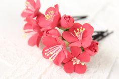 Fleurs à argile polymère épingle cheveux. Ensemble de 6.   fleurs