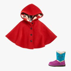 Burberry hooded wool cape $295, saksfifthavenue.com; Ugg Elsa Coronation, $185, ugg.com