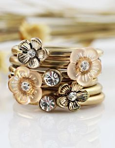 Gold Crystal Flowers Multilayer Ring