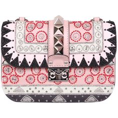 Valentino Garavani Leather Lock bag with embroidery (€2.830) ❤ liked on Polyvore featuring bags, handbags, multicolor, leather handbags, genuine leather handbags, leather purse, multi colored leather handbags and colorful purses