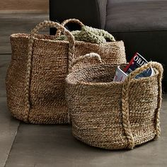 For collecting those odds and ends that materialize in the living room. Braided jute basket. West Elm. Starting at $39