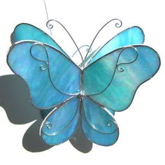 Sky Wings  Medium 3D Stained Glass Butterfly by katiediditglass, $40.00
