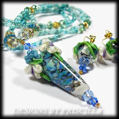 statement necklace  flower necklace  blue by designsbypriscilla, $49.99