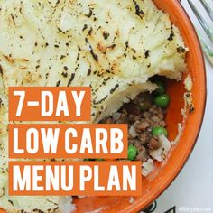 Pandora Jewelry OFF!>> Have you ever considered trying a low carb diet? Try this 7 Day Low Carb Menu Plan - this menu includes healthy carbohydrates from natural sources. Low Carb Menu Planning, Low Carb Menus, Low Carb Recipes, Whole Food Recipes, Diet Recipes, Meal Planning, Cooking Recipes, Healthy Recipes, Crockpot Recipes