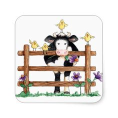 Fenced Cow - Stickers