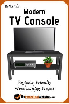 Free plans viewable in any browser - Modern TV Console. Simple joinery, easy cuts, finish how you like. Wood Projects That Sell, Easy Wood Projects, Woodworking Projects That Sell, Woodworking Techniques, Diy Woodworking, Project Ideas, Tv Console Modern, Modern Tv, Construction