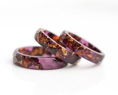 Deep Purple Resin Ring Stacking Ring Copper Gold by daimblond