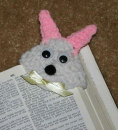 Snuggly Bunny Corner Bookmark free crochet pattern.