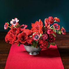 Red Punch Arrangement: Amaryllis + rose foliage + carnations + tea roses + anemones + ranunculus