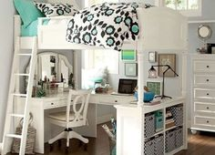 modern bedroom ideas design for girls, space saving with elevated multifunction furniture