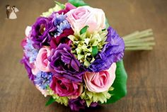 Handtied Silk Floral Bouquet: Roses & Lisianthus Bouquet - Artificial flowers (*Amazon Partner-Link)