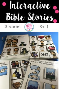 Interactive Bible stories are wonderful for special needs ministries and young children. These adapted books let children participate in the lesson. Set 1 includes Days of Creation with numbers, Days of Creation with nature, and Adam & Eve.