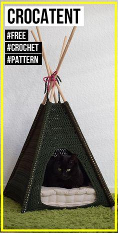 crochet CroCaTent free pattern - easy crochet pet pattern for beginners Gato Crochet, Crochet Cat Toys, Crochet Home, Crochet Gifts, Crochet Animals, Crochet Yarn, Free Crochet, Funny Crochet, Cat Couch