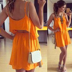Strap Chiffon Backless Tops Skirt Slim Mini Dress Set