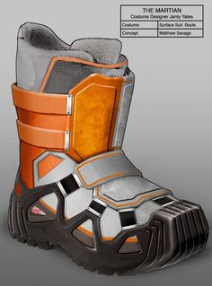 "Yates also designed the boots for comfort. ""The actors have to be able to use a hammer or whatever they need to do on the surface of Mars, and stand for 12 hours without feeling overwhelmed with the weight,"" she said."