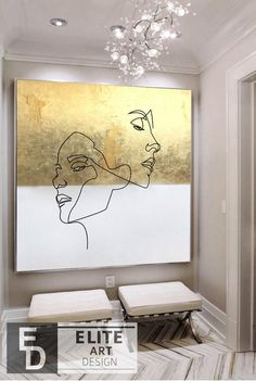 Large Cubist Wall Paintings On Canvas Golden Leaf Artwork Abstract Minimalist Painting White Abstract Painting Modern Woman Painting Diy Canvas Art, Acrylic Painting Canvas, Diy Painting, Painting Frames, Paintings On Canvas, Acrylic Painting Inspiration, Art Turquoise, Grand Art, Living Room Canvas