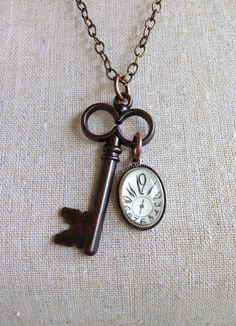 Skeleton Key and Clock Necklace Vintage by IndustrialWhimsy, $14.00