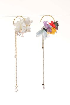 Earing / flower small hoop Material:K18, K10, color stones