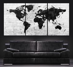Amazon world map 24x36 poster contemporary reference pp31842 large wall art world map canvas print contemporary 3 panel triptych black and white large gumiabroncs Choice Image