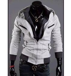 Fashion Asian men´s hoodie thick double zipper Jacket