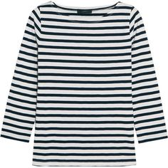 J.Crew Striped cotton-jersey top ($49) ❤ liked on Polyvore featuring tops, long sleeve tops, shirts, t-shirts, loose shirt, long-sleeve shirt, striped boatneck top and boat neck striped top